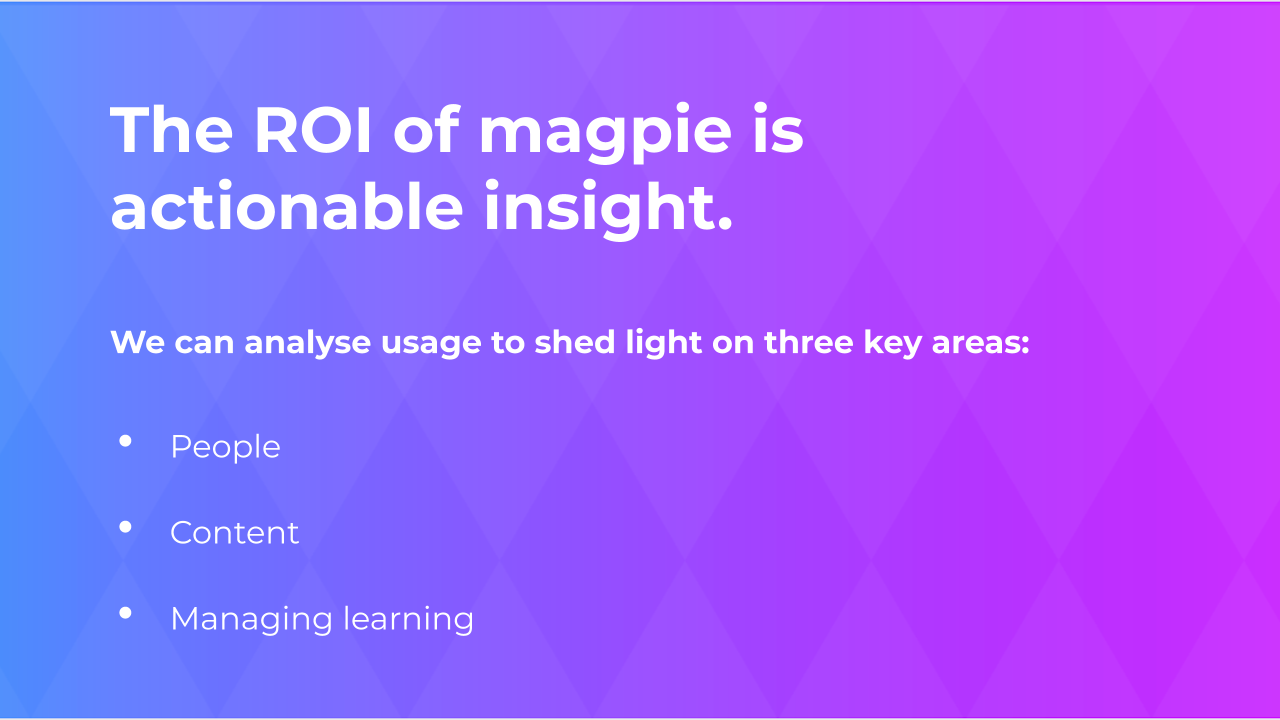 The ROI of magpie is actionable insight