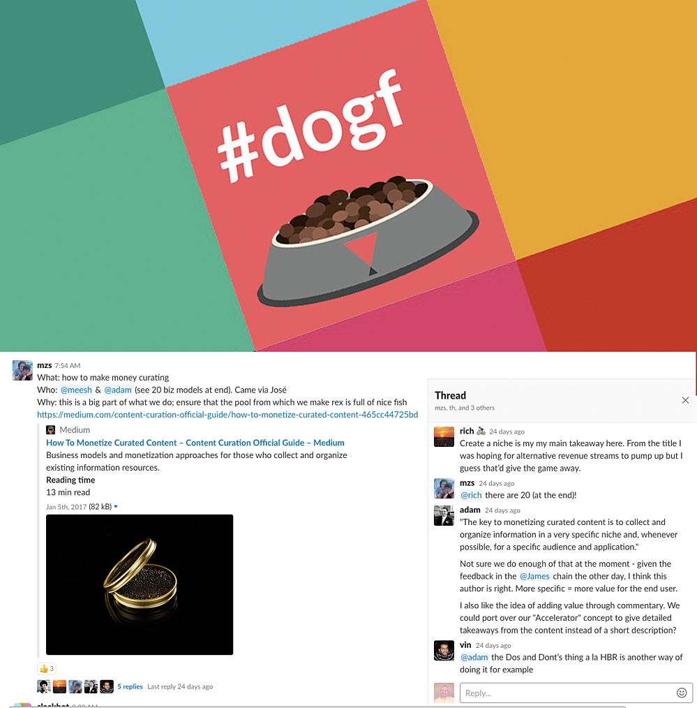 dogf slack chat with text